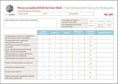 participant survey after event