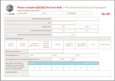 participant survey before event